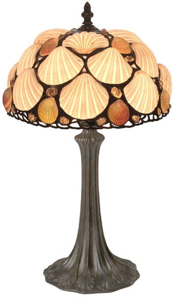 Art Nouveau Tiffany Style Lamp With Real Seashell Shade