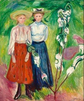 Edvard Munch; Twee meisjes bij een appelboom 1905    Twee meisjes uit het Noorse vissersdorp Aåsgardstrand stonden in 1905 model voor dit dubbelportret. Munch bezat daar een huisje en schilderde de mensen uit de omgeving. Het bloeiende appelboompje symboliseert de onschuld van de jeugd. Dit schilderij is het enige doek van Munch in een Nederlands Museum. zie ook http://collectie.boijmans.nl/nl/onderwijs/expressionisme/