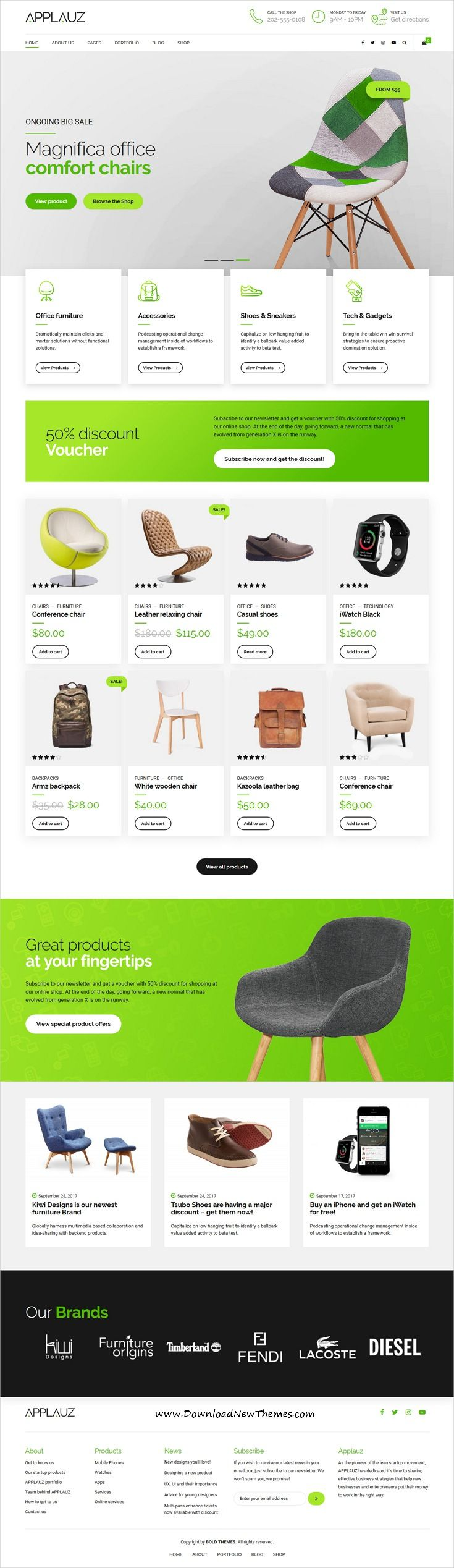 Applauz is clean and modern design responsive #WordPress theme for #eCommerce, #webshop, startup, app and digital business #website with 6+ niche homepage layouts to live preview & download click on image or Visit