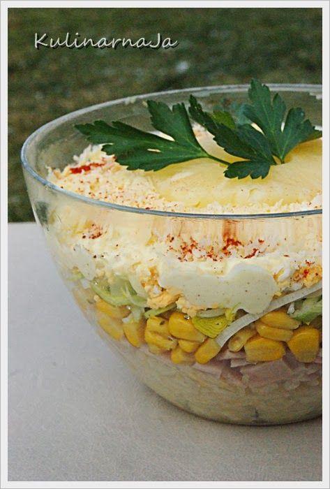 Kulinarna Ja: Warstwowa sałatka z porem, szynką i ananasem