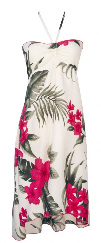 Hawiian Print Tie Strap Butterfly Dress in Cream, Womens Tropical Hawaiian Dresses Shirts Clothing, FLD-018-001-Cream-Pink - Paradise Clothing Company
