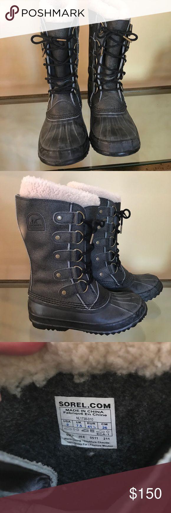 Sorel Winter Carnival Boots Grey Sorel Waterproof boots • 100% sheep fur lining • Size 9 • Excellent condition Sorel Shoes Winter & Rain Boots