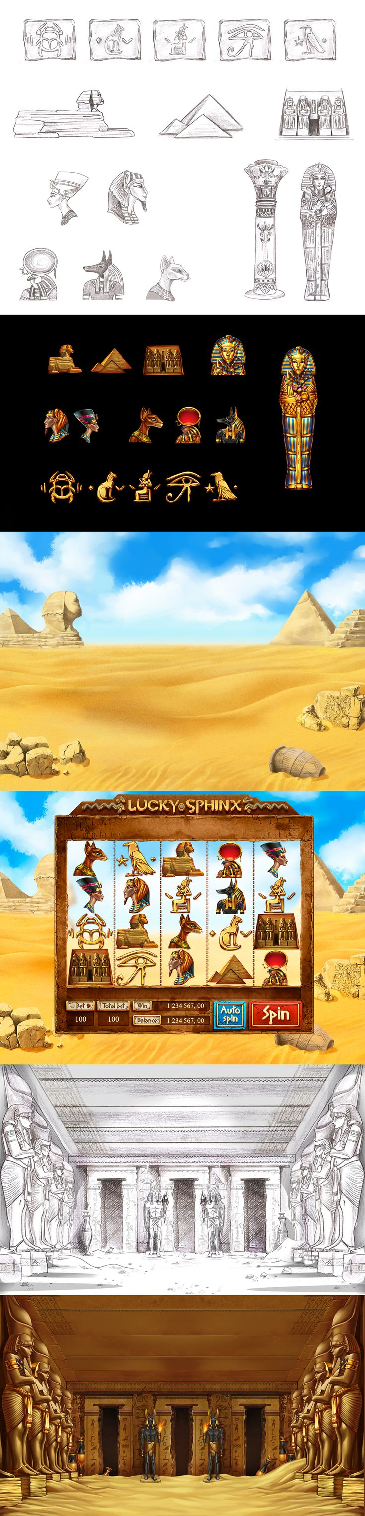 "Graphic design of symbols, icons and interface for the game slot-machine ""Lucky sphinx"" This slot-machine was made in the ancient Egyptian theme and was inhabited by ancient gods and pharaohs. Enjoy! http://slotopaint.com/"