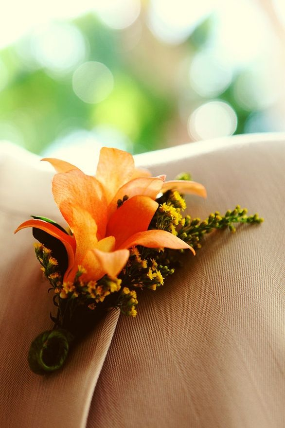 For my Groomsmen Orange Tiger Lily to matchthe bridesmaids boquets (: