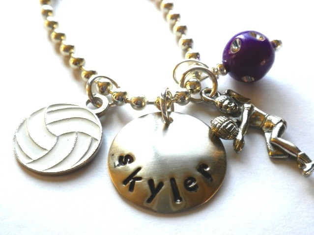 Hand Stamped Charm Necklace-Volley Ball Personalized Jewelry $20