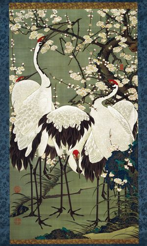 Itō Jakuchū   Plum Blossoms and Cranes, c. 1761–1765  from Colorful Realm of Living Beings,  Set of 30 vertical hanging scrolls, c. 1757–1766   ink and colors on silk 142.0 x 79.8 cm   Sannomaru Shōzōkan (The Museum of the Imperial Collections), The Imperial Household Agency, Tokyo.