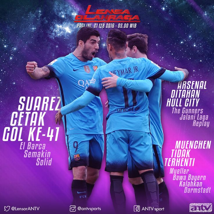 Suarez Barcelona at Social Media Lensa Olahraga ANTV Graphic Design material
