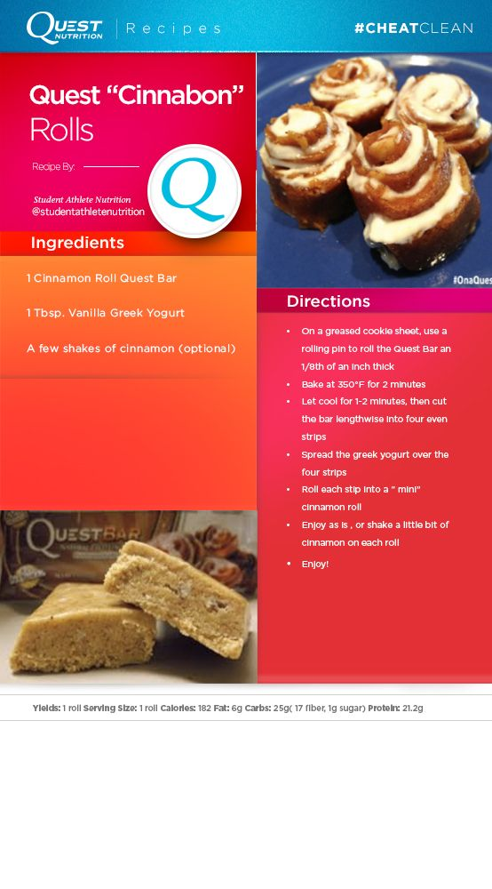 """Get the """"Cinnabon"""" taste with this healthy #Quest version of a cinnamon roll! Check out this #CheatClean recipe by @studentathletenutrition"""