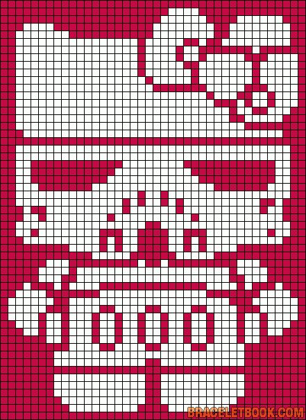 Free Storm Trooper Hello Kitty Hama Perler Bead Pattern or Cross Stitch Chart