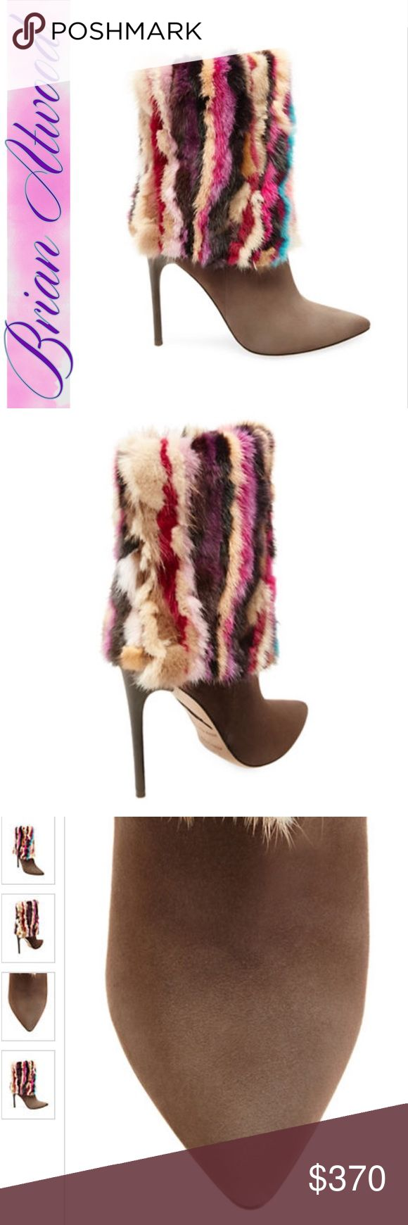 Brian Atwood mink and suede bootie Fabulous! I mean just look at these!! You'll never want to take the m off. Put your feet up and admire the luxury styling of these stellar boots. Art for your feet! BNIB! Brian Atwood Shoes Heeled Boots