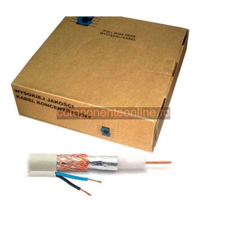 Cablu coaxial, RG59, alb + 2x0,5mm - 402272