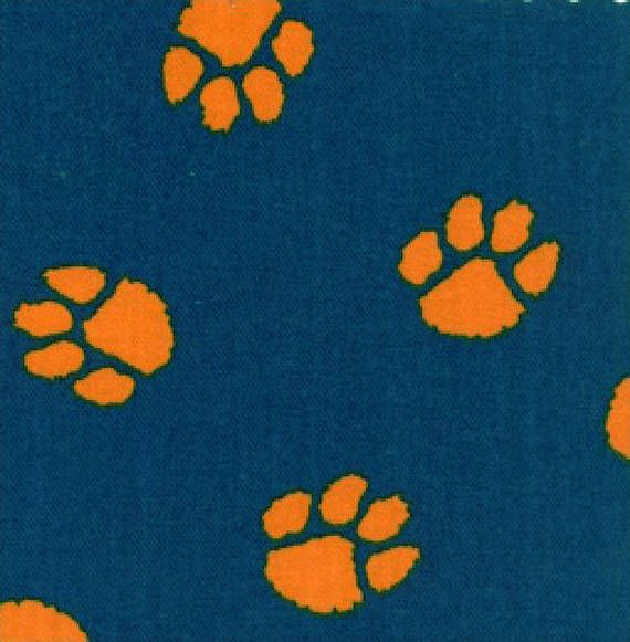 Fabric Finders Navy Orange Paw Print Twill Clothing Quilting Applique Fabric By The Yard