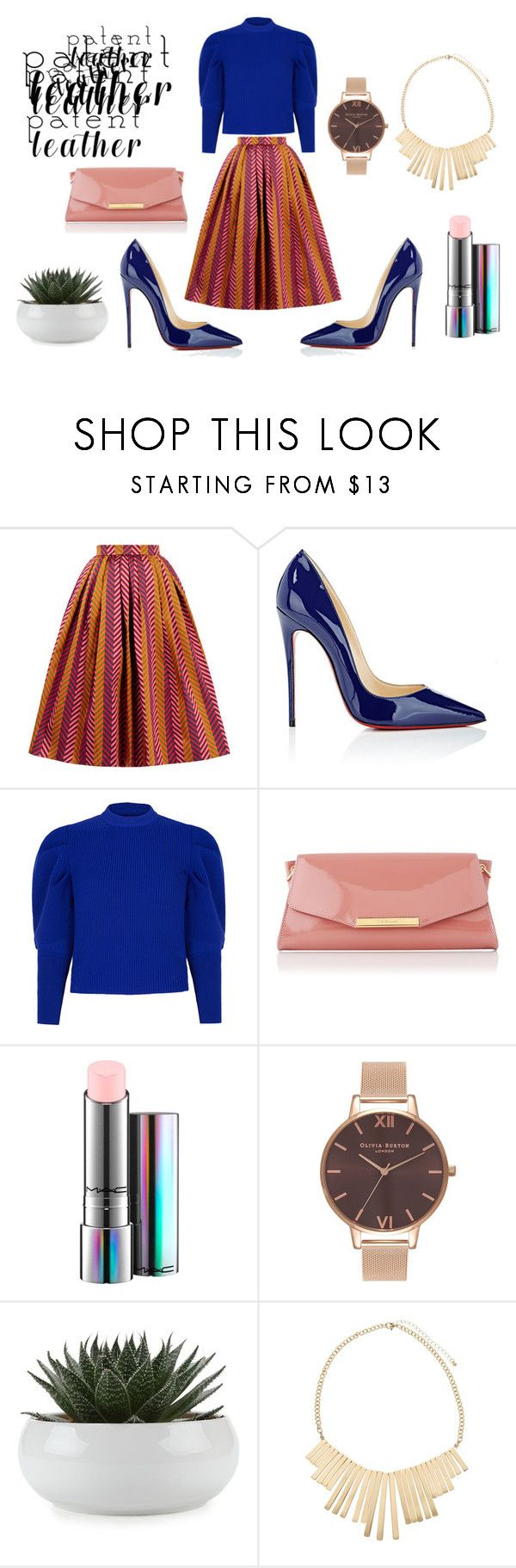 """""""City Slickers: Patent Leather"""" by sue-lozaliniha ❤ liked on Polyvore featuring House of Holland, Christian Louboutin, Paper London, L.K.Bennett, MAC Cosmetics, Olivia Burton and John Lewis"""