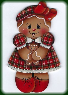 LAMINATED FRIDGE MAGNET Gingerbread Plaid Dress