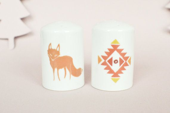 Salt and pepper shaker with aztec graphic by StudioRobinPieterse, $20.00