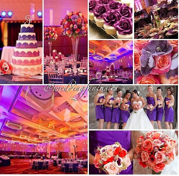 purple n coral wedding. This collage gives a good vibe as far as ambiance.. not just what we want but good feel