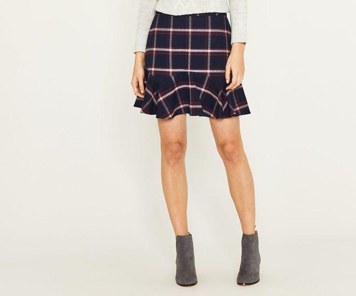 Oasis Merlot Check Flippy Skirt