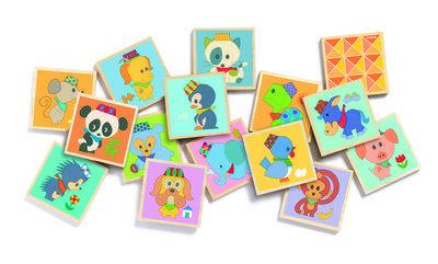 Djeco Memory  Djeco Memory, hip gekleurd houten memory spel met dierenvriendjes. Train het beeld en het geheugen met je kindje. 32 houten kaartjes van 5.6x5.6x0.6cm in een mooie bewaardoos. vanaf 2...