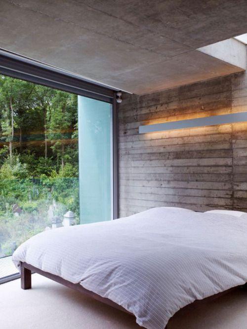 Wonderful!: Big Window, Dreams Bedrooms, Concrete Wall, Bedrooms Design, Dreams Rooms, Simple Bedrooms, Vintage Bedrooms, Wood Wall, Bedrooms Sanctuary