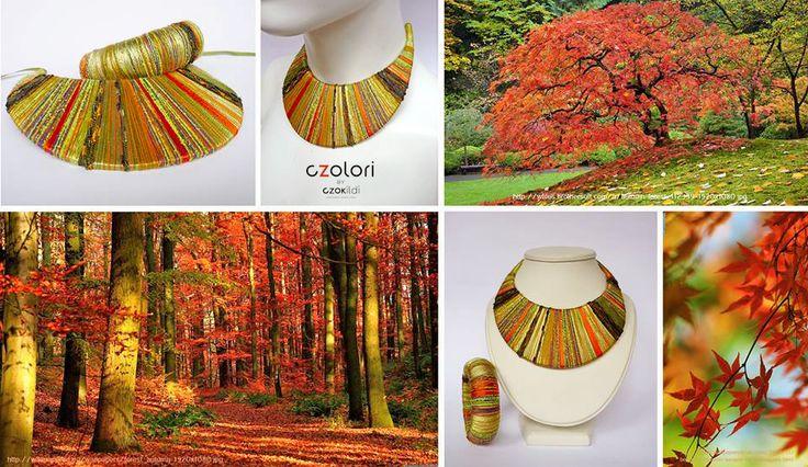 Autumn colors, nature inspired yarn wrapped, fibre jewellery by Czolori http://czokildihu.bigcartel.com/