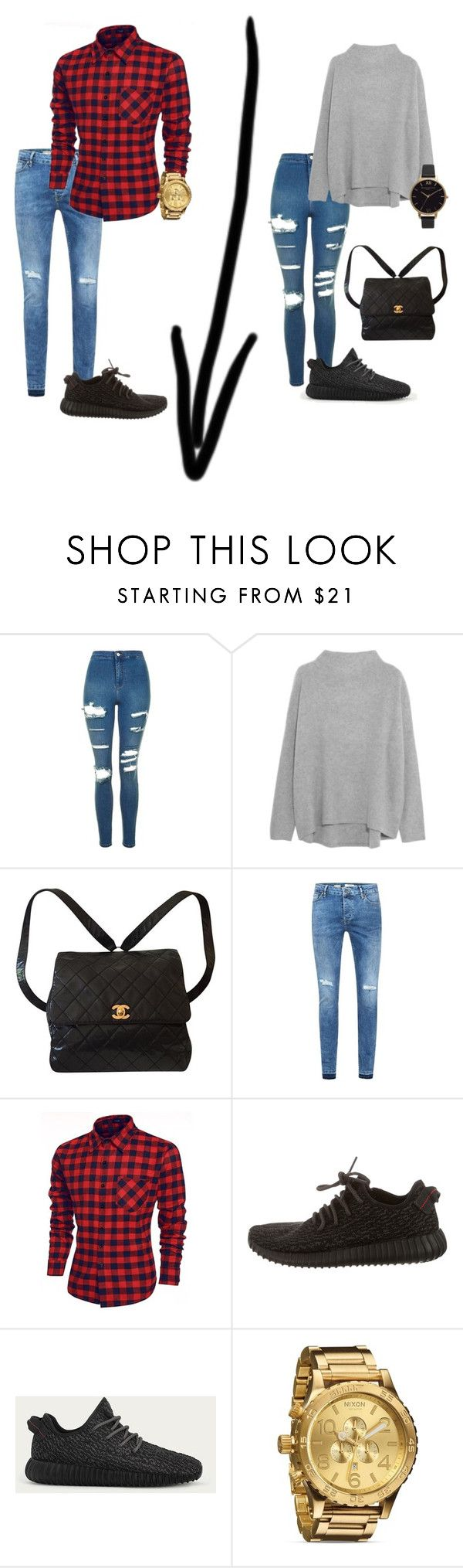 """""""Couple Going Out (IDEK)"""" by angelaxblackbear ❤ liked on Polyvore featuring Topshop, Vince, Chanel, Topman, adidas, Nixon and Olivia Burton"""