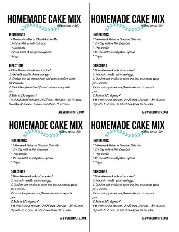 Need a cake mix but don't want to run to the store? Check out this simple Homemade Cake Mix Recipe for yellow or chocolate cake. Plus FREE Printable Labels. There are bonus gluten free instructions too!