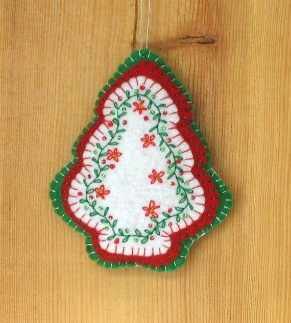 Felt Christmas Tree Embroidered Beaded Ornament