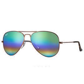 Ray Ban RB3025 Aviator Mineral Flash Lenses sunglasses – Bronze-Copper Frame / Green Rainbow Flash Lens