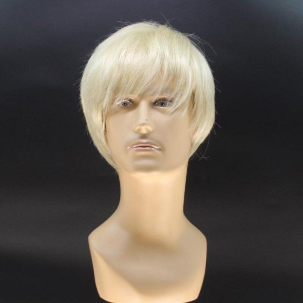 Stylish Short Straight Handsome Light Blonde Men's Heat Resistant Fiber Wig #>=#>=#>=#>=#> Click on the pin to check out discount price, color, size, shipping, etc. Save and like it!