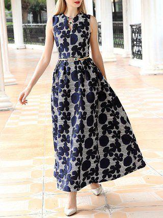Jacquard Sleeveless Vintage Maxi Dress