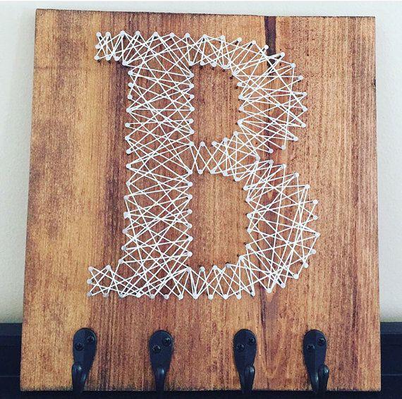 Wooden Key Hanger String Art Letter for Wall by CarolinaStrings