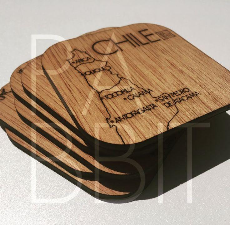 Tenemos nuevo producto . Set 6 posavasos mapa de Chile en madera terciada 4 mm enchapada e impermeabilizada grabado y corte laser. #chile #madera #lasercut #hechoenchile #santiago by rbbt.cl
