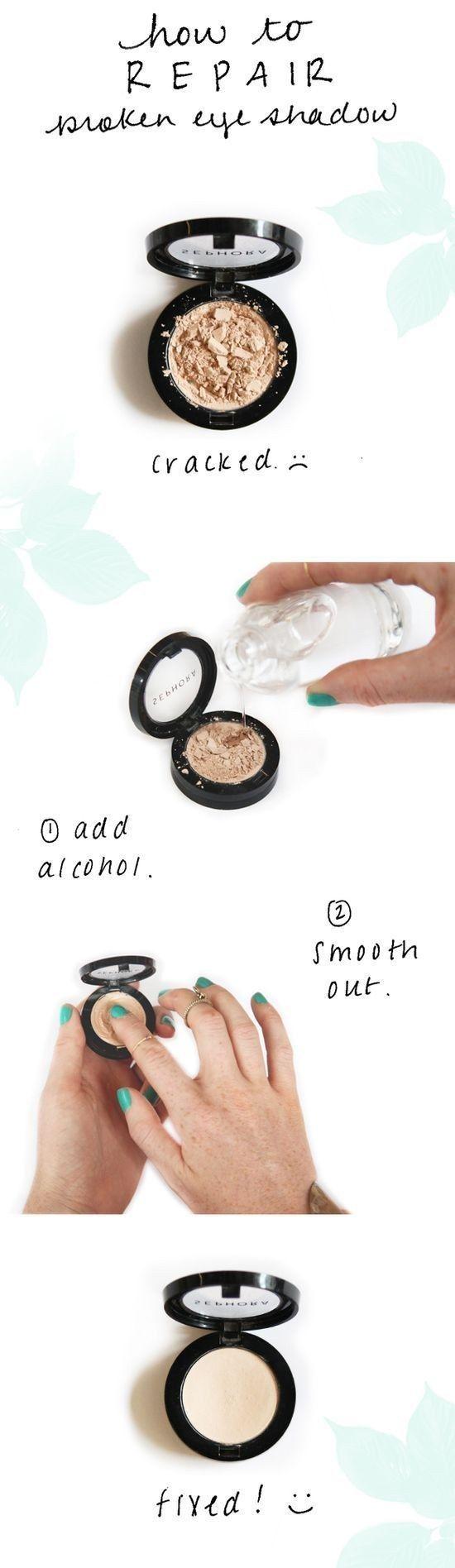 Repara sombras despedazadas con unas cuantas gotas de alcohol. | 18 Trucos geniales para aprovechar hasta la última gota de tu maquillaje