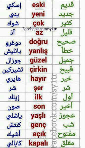 Some adjectives in Turkish