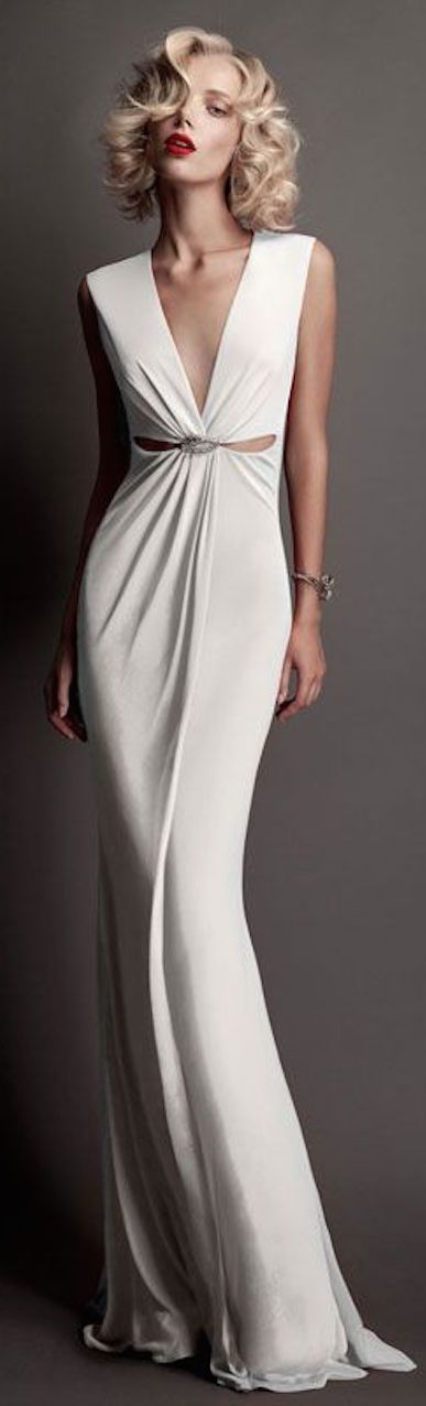 nice Roberto Cavalli Bridal 2015 white maxi v-neck dress. Fabulous simple and elegant...