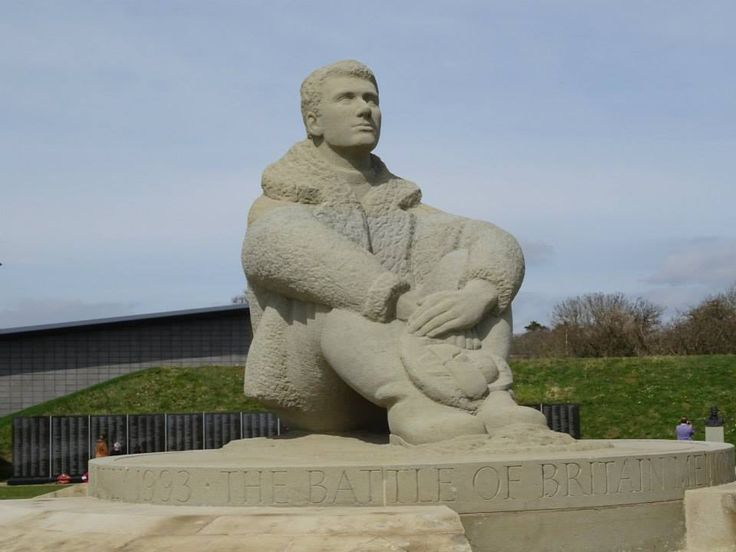 Battle of Britain Memorial, Capel-le-Ferne, Kent. The pilot is looking out across the English Channel towards the French coast.
