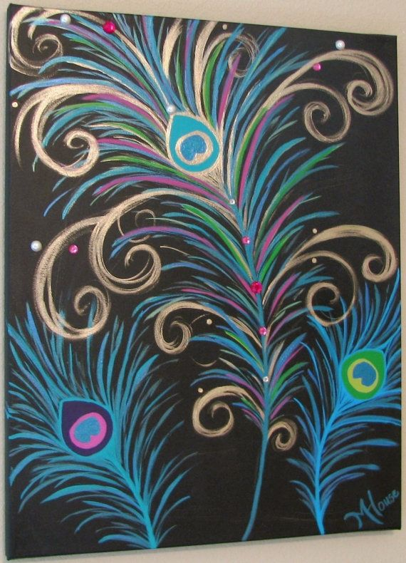 """PreTTy As A PeAcOcK - Shimmering Original Metallic Modern Abstract Peacock Feather's Canvas Painting 16 x 20"""""""