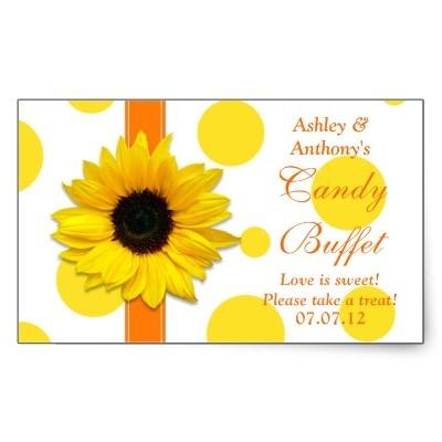 Orange and yellow sunflower polka dot candy buffet rectangular sticker. #weddings #showers #diy