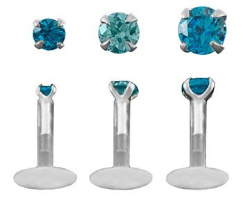 Set of 3-16 gauge Aqua Triple Forward Helix Jewelry BioPlastic Labret Stud Cartilage Earrings