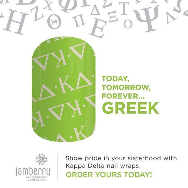 """Kappa Delta"" - Jamberry premium nail wrap, for Kappa Delta sorority sisters. #KappaDelta #NailArt #Custom #GreekApparel #KappaDeltaJN"