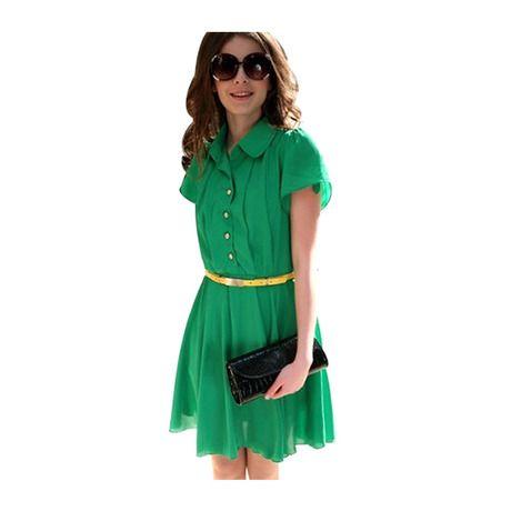Chiffon Pleated Madeline Dress - Green at 78% Savings off Retail!