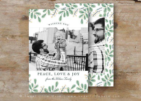 Christmas Card Template - Holidays by SweetLittleMuse on @creativemarket