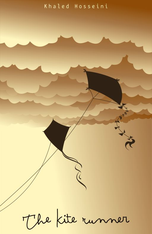 The gray background  showing depressing mood and also being conquered. The brown background has an opposite meaning instability and how out of order the government is. The flying kite can represent the how Amir felt that at least one characteristic that connected him to Baba.
