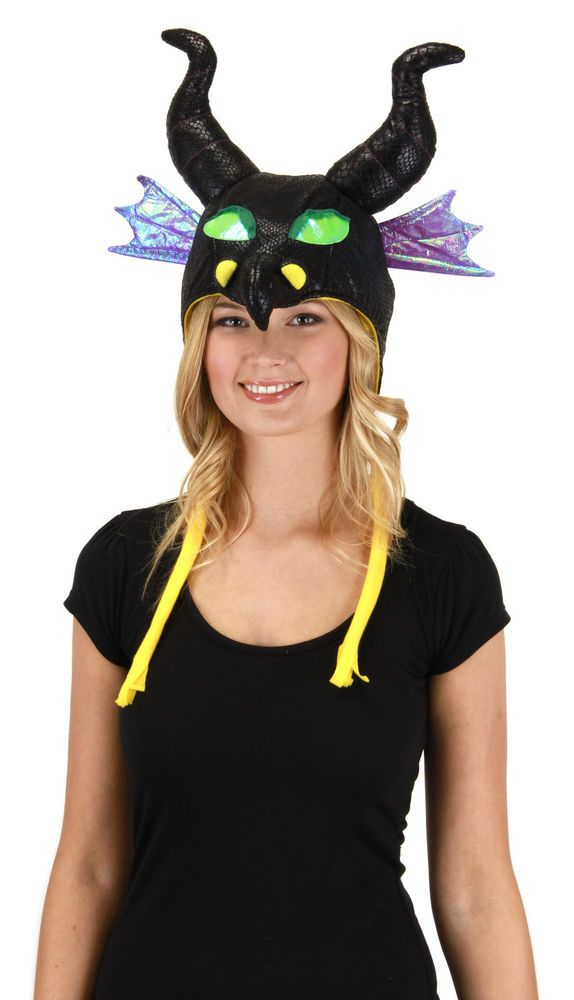 Disney Sleeping Beauty Maleficent Dragon Costume Adult Laplander Hoodie Hat New #Disney