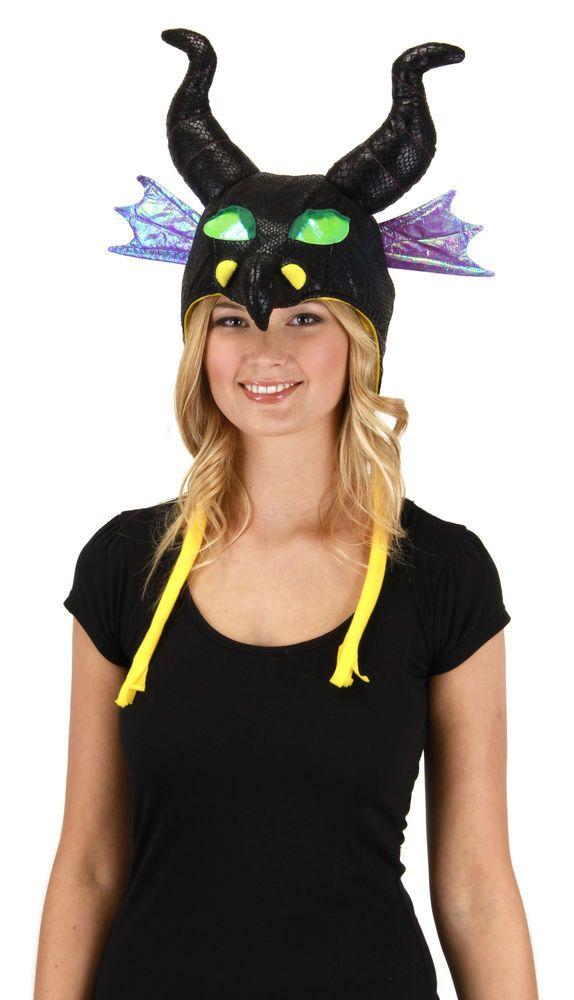Disney Sleeping Beauty Maleficent Dragon Costume Adult Laplander Hoodie Hat New #Disney