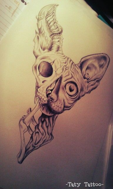 Zombie cat, matita su carta Cat, zombie, sphynx, tattoo sketch, eyes