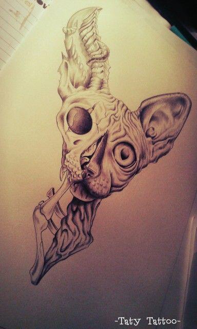 Zombie cat, matita su carta Cat, zombie, sphynx, tattoo sketch, eyes, occhi, gatto -Taty Tattoo-