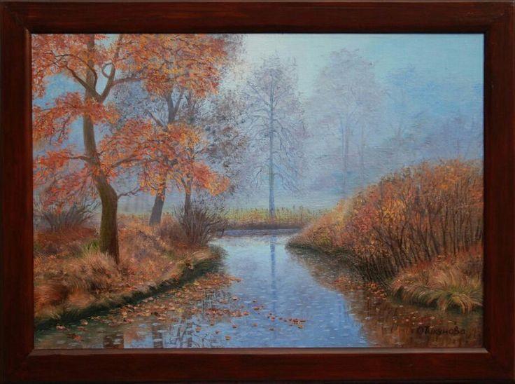 """Купить Картина маслом""""Осенний дождик"""",пейзаж - пейзаж маслом, осенние краски, осенние листья, октябрь"""