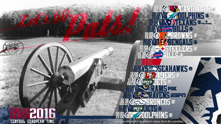 Schedule wallpaper for the New England Patriots Regular Season, 2016. All times CET. Made by #tgersdiy