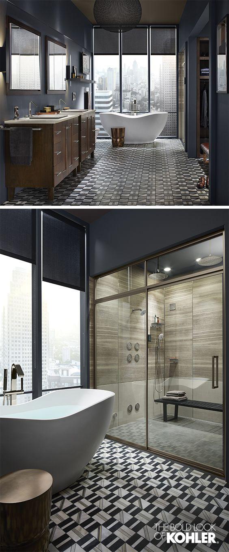 En el baño, hay un las ducha y la banera y el aseo!